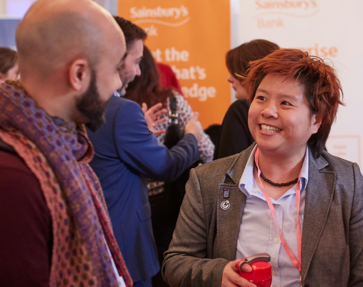 Networking people at event