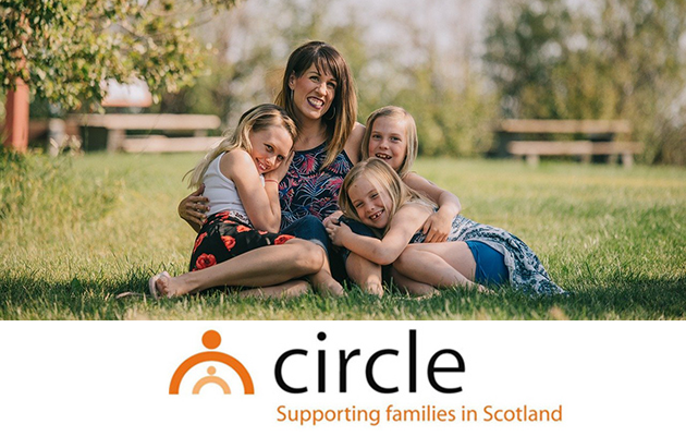 Circle logo with picture of family