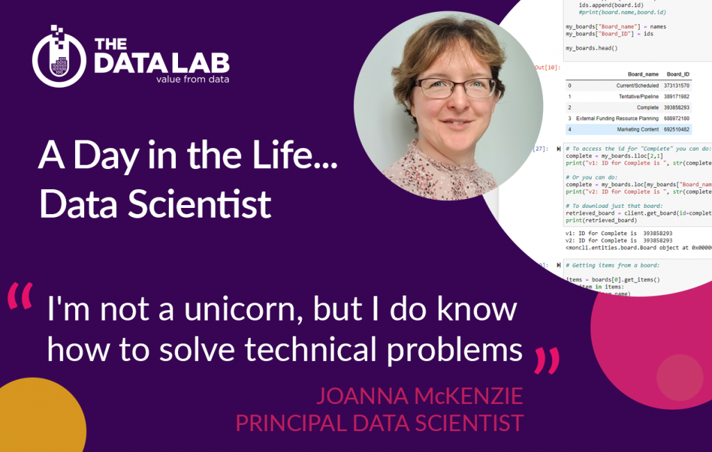 Joanna McKenzie A day in the life of a data scientist