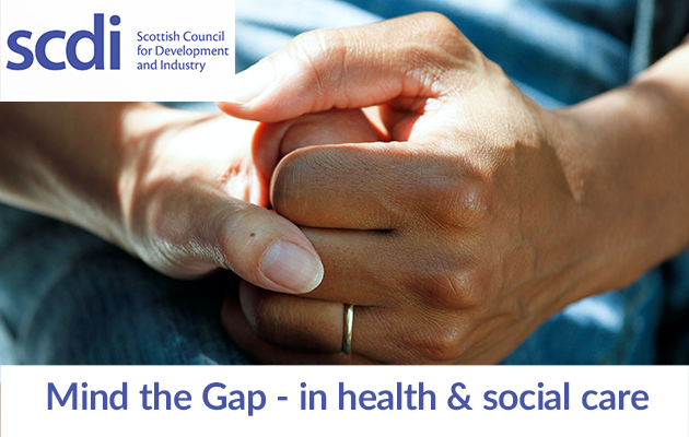 SCDI logo - mind the gap in health and social care